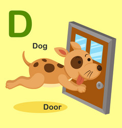 isolated animal alphabet letter d-dog door vector image