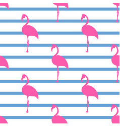 pink flamingos seamless pattern vector image