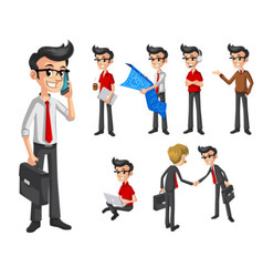 Set of Businessman in Flat Design vector image