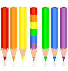 Set of colored pencil a rainbow pencil near vector image vector image