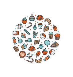 sweet desserts and candies icons round concept vector image