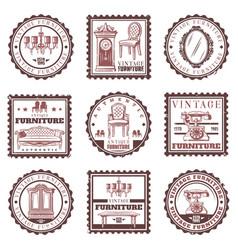 vintage furniture stamps set vector image