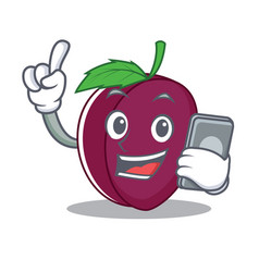 with phone plum character cartoon style vector image vector image