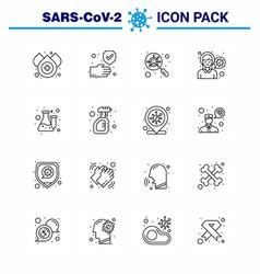 16 line coronavirus epidemic icon pack suck vector image
