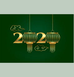 2020 golden chinese style new year background vector