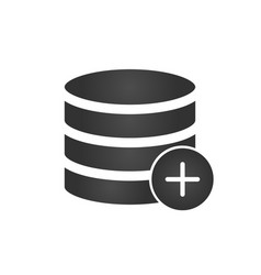 Add to database black icon isolated on modern vector