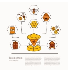 Apiary concept flat vector image