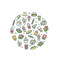 asian fast food line icons concept vector image