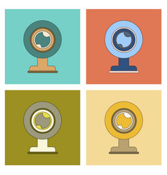 Assembly flat icon computer webcam vector