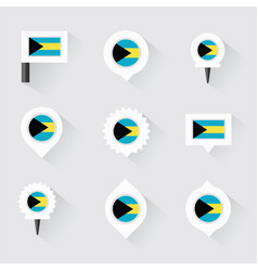Bahamas flag and pins for infographic and map vector