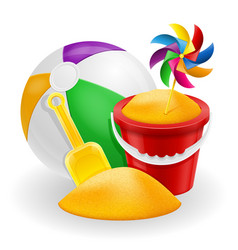 Beach objects accessories for children games vector