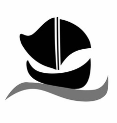 Black boat silhouette vector