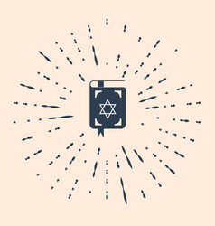 Black jewish torah book icon on beige background vector