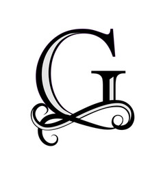 black letter g capital letter for monograms and vector image