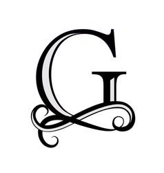 Black letter g capital letter for monograms vector