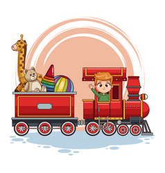 Boy driving train with toys vector