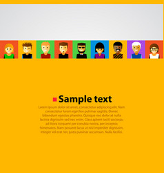 Bright background with happy cartoon people vector