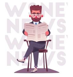 businessman is reading a newspaper cartoon vector image