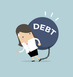 businesswoman carry debt financial concept vector image