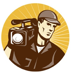 Cameraman holding movie camera vector