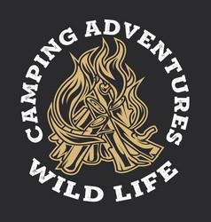 Camping firewood vintage adventure outdoor logo 3 vector