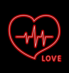 cardiogram of love and health line forming red vector image