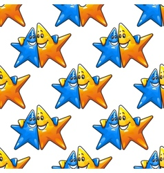 Cartoon hugging stars characters seamless pattern vector
