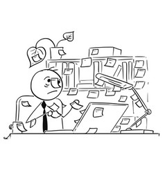 Cartoon of office worker with stick notes vector