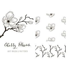 cherry blossom design art brush and pattern vector image