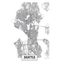 City map seattle travel poster design vector