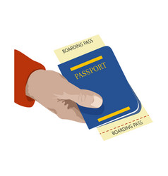 close up man holding in his hand passport and vector image