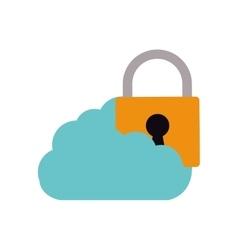 Cloud padlock security technology vector