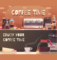 Coffee time two horizontal banners vector