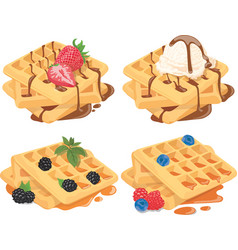 collection belgian waffles with fruit fillings vector image