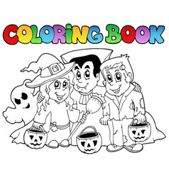 coloring book halloween topic 3 vector image