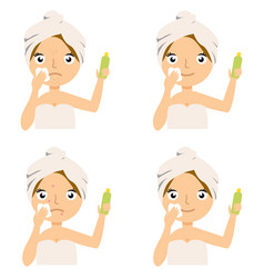 concept of spa salon cartoon face girl skin care vector image