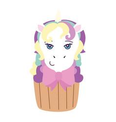 cupcake head cute unicorn vector image