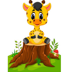 cute baby giraffe sitting on tree stump vector image