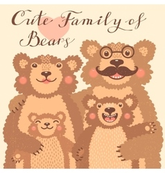 Cute card with a family of brown bears Dad hugs vector