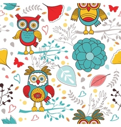 Cute colorful pattern with funny owls and flowers vector image