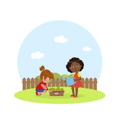 cute kids working in garden girl with watering vector image