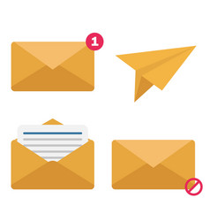 Envelope set flat style icon and paper airplane vector