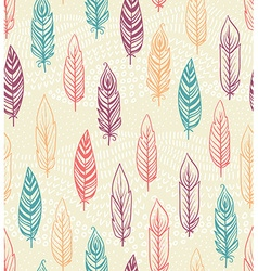 Ethnic seamless pattern with Feathers vector image