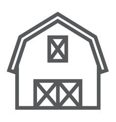 Farm barn line icon farming and agriculture vector