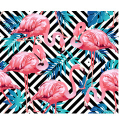 Flamingo bird and tropical flowers geometric vector