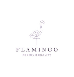 flamingo logo line outline monoline icon vector image