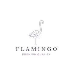 flamingo logo line outline monoline icon vector image