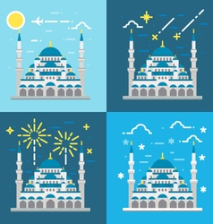 Flat design of Blue mosque Istanbul Turkey vector image