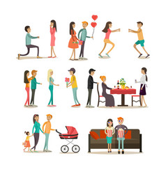 flat icons set people in love vector image