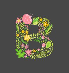 Floral summer letter b flower capital wedding vector